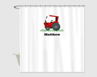 FARM TRACTOR LIFE Red Personalized Kids' Shower Curtain - Choose a Color; Kids' Bathroom Decor; Kids' Shower Curtain