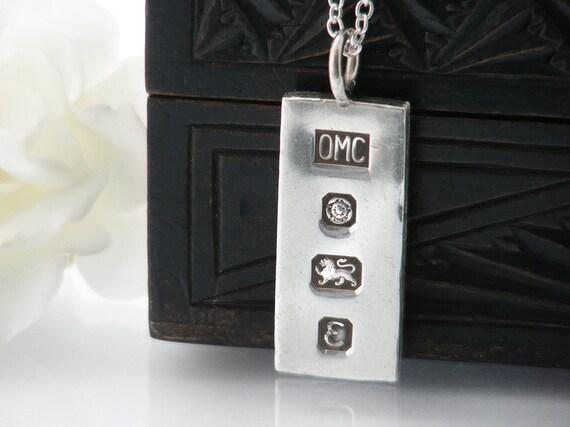 Vintage Sterling Silver Ingot Pendant | 1979 English Hallmarks | Minimal Sterling Pendant | Half Ounce Silver Ingot - 24 Inch Long Chain