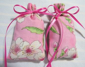 """Pink 3""""X2"""" Sachet-'Deb's Flower Shoppe' Fragrance-Green/White FloralSachet-Cotton Fabric Herbal Botanical Hand Blended Sachet-155"""