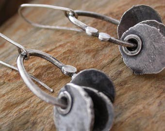 Riveted recycled silver hammered disc earrings Artisan jewelry