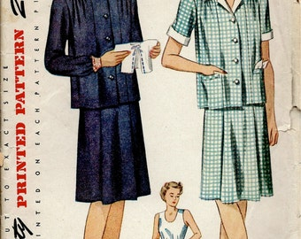 1940's Simplicity Sewing Pattern No. 4794 - Maternity Top and Skirt - Easy to Make - Bust 32""