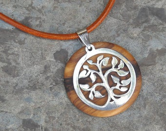 Necklace olive wood Tree of Life leather brown stainless steel