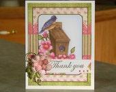 "Handmade Thank You Card - 4 1/4"" x 5 1/2"" - Bluebird Perched on Bird House - 3-D Flower & Leaves"