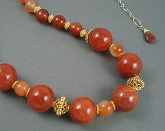 Crackle Agate and Carnelian Necklace, Adjustable 17 to 20 Inch Strand of Red Crackle Agate and Tangerine Carnelian with Gold Fill