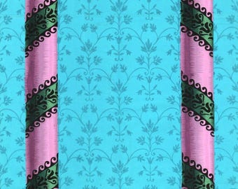 antique french wallpaper Marie Antoinette style turquoise and pink columns illustration digital download