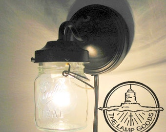 PLUG IN Mason Jar Wall Sconce Light - Farmhouse Flush Mount Lighting Fixture LampGoods Pendant Chandelier Track Fan Rustic Country Kitchen