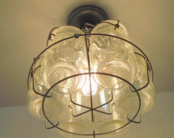 Vintage Mason Jar Basket CHANDELIER Light Fixture Quarts Upcycle Repurpose with Edison Bulb