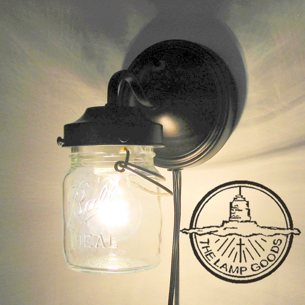 PLUG IN Mason Jar Wall Sconce Light Farmhouse Flush Mount