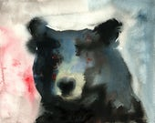 Bear Original watercolor painting 10x8inch