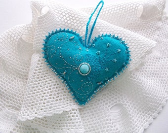Felt Ornament Teal Heart Hanging with Beaded Edge Swirls and Dots Tiny Sequin Stars and Crochet Loop Handsewn
