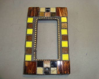MOSAIC Outlet Cover or Switch Plate, GFI Decora, Wall Plate, Wall Art, Yellow, Brown, Black, Gold