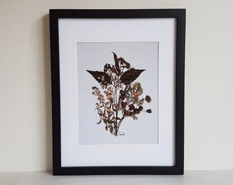 11x14 matted print from one of my original pressed flower artwork made with real dried flowers