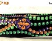 CYBER MONDAY Mardi Party Mardi Gras Beads with Fleur De Lis Green Gold Purple on Black Dog Collar
