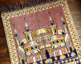Vintage Prayer Rug, Turkish Prayer Rug, Mosque Design Prayed Rug, Prayer Carpet, Small Area Rug. Wall Hanging, Vintage Religious Decor