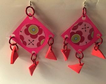 Geometric Earrings, Geometric Dangles, Runway Earrings, Funky Earrings, Runway Dangles, Runway, Funky Dangle, Big Earring, laminated dangles