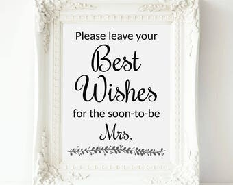 Bridal Shower Guest Book Sign, Best Wishes For Soon To Be Mrs, Printable Bridal Shower, Hen Party Sign, Hen Party Guest Book Sign