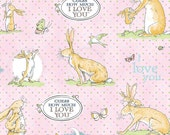 Guess How Much I Love You 3 Fabric Mommy and Baby Bunny Rabbit on Light Pink Pin Dots