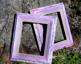 """Set of 2 Vintage Old Wooden Picture Frames Painted in Blended Colors 12 1/2"""" x 14 1/2"""""""