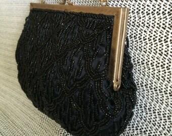 Vintage Black Beaded Bag