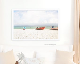 """Beach Photography // Large Beach Photography // Large Wall Art Print // Beach People Wall Art // Large Beach Print // """"Ocean Boats"""""""