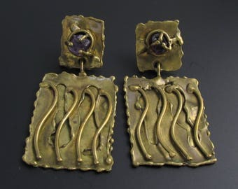 Amethyst Brutalist Earrings, Ernandes Earrings, Brass Earrings, Amethyst Earrings, Abstract Earrings, Unique Earrings, Avant Garde Earrings
