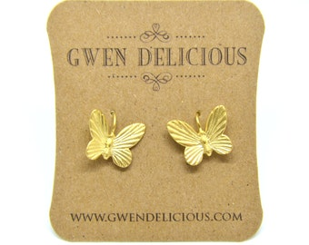 Tiny Gold  Butterfly Earrings