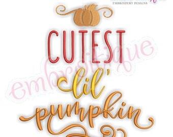 Cutest Lil Pumpkin-  Cute Halloween Fall    -Instant Download Machine Embroidery Design