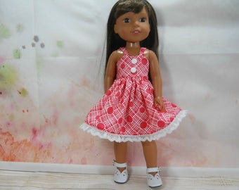 Designed for 14.5 inch dolls such as Wellie Wishers,Red Circle Dress, 03-1985