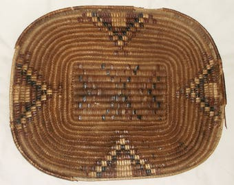 Large vintage Worn woven Basket Tray • native pattern • 18 1/2 X 14 1/2 inches • Rescued