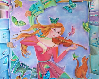 Hand Painted Silk Scarf Song of Youth Violin Player Custom Order