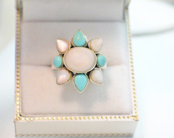 silver blue turquoise ring band mother of pearl halo cluster ballerina design solid 925 sterling silver womens fine vintage jewelry dress