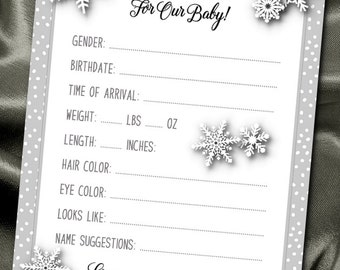 10 Prediction Cards, Baby Shower Party Games, Guessing Game Cards, Baby Gender Reveal Party, Winter Snowflakes, Silver or Gold