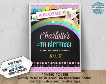 PRINTED Welcome to My Birthday Poster, 11x14, 16x20, 18x24, Unicorn, Rainbow, Pastel Colors, Chalkboard Look, Ready to Frame