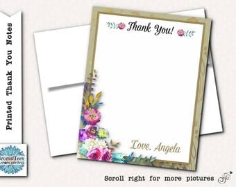 Printed Thank You Note Cards with Envelope, Watercolor Florals, Flowers, Bridal or Baby Shower, Wedding, Birthday, Quinceanera