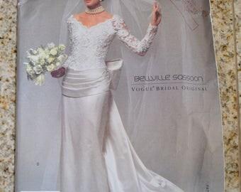Vogue 2799 Bellville Sassoon Vogue bridal Original Gown Size 8-12 UNCUT