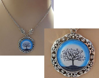 Silver Celtic Tree of Life Pendant Necklace Jewelry Handmade NEW Blue Fashion adjustable accessories