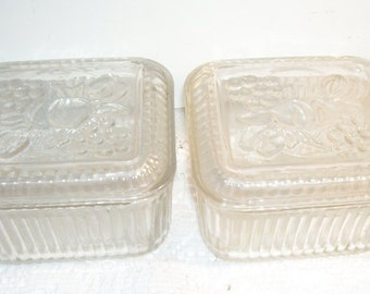 2 Federal Glass Square Refrigerator Dishes Veggie Design on The Top Lids, Depression Era Glass, Good Housekeeping, Retro Kitchen, Vintage