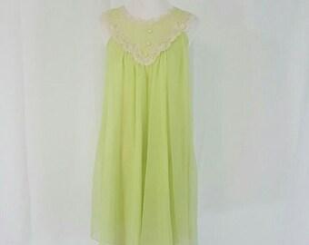 Vintage Lisette Green  Double  Chiffon Peignoir Nightgown - Vintage Lingerie - Pin Up Lingerie - Sissy