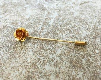Gold Rose Pin, Metal Rose Hat Pin, Stick Pin, Flower Pin, Yellow Gold Pin, Flower Gifts, Vintage Pin, Gold Hatpins, Rose Gifts, Backpack Pin