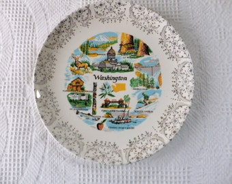 Vintage Washington Souvenir State Plate with Gold Filigree Border Decorative Collector Travel Vacation Retro Wall Decor