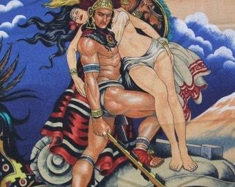 Aztec Legend Mexico Warrior Pyramid Princess Alexander Henry Fabric Yard