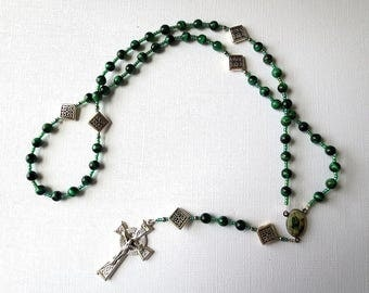 Irish Themed Rosary of Green Tiger Eye with St. Patrick/ St. Brigid Center and Celtic Cross