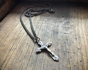 Vintage sterling silver crucifix pendant and chain religious jewelry cross Catholic icon