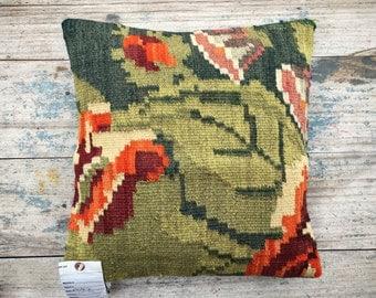 Vintage Turkish kilim pillow cover 16 x 16, green orange decor, bohemian decor eclectic, Southwestern throw pillow cover, ethnic pillow
