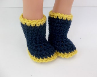 18 inch Boy Doll Clothes  Crochet Boots and Hat Navy and Mustard to fit American Girl Boy Doll
