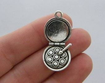 4 Make up compact mirror charms antique silver tone P34