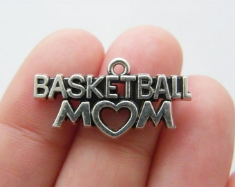 4 Basketball mom charms antique silver tone M843
