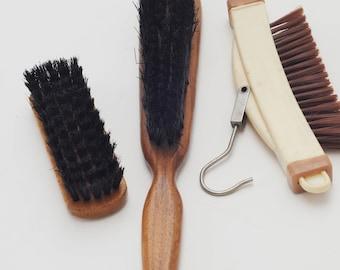 Lot of 3 Vintage Shoe & Clothing Brushes, Travel Hanger Brush-Mens Vtg Brushes