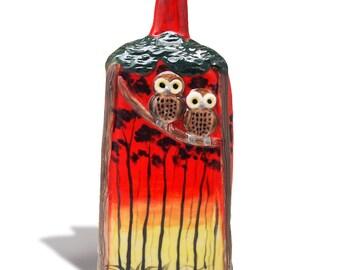 owl bottle vase ceramic hand crafted conversation piece sunset painting Australian pottery Anita Reay flask owl figurine