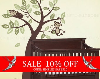 Sale - Tree with Monkeys - Kids Vinyl Wall Sticker Decal Set